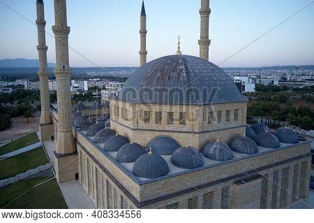 Manavgat Mosque In The Antalya Region, Turkey. Kulliye Mosque With Four Minarets, Manavgat, Antalya,