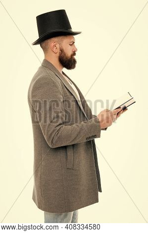 Dig Into Reading. Bearded Man Read Book Isolated On White. Poetry Reading. Home Reading And Schoolin