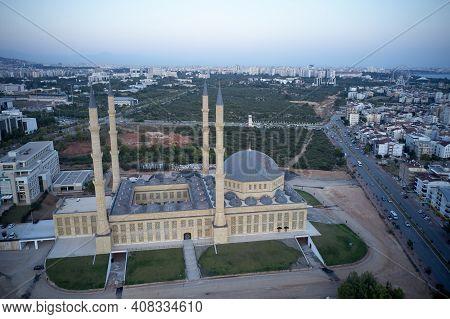 Kulliye Mosque, Four Minarets, Manavgat, Antalya Province. Famous Landmark Of Antalya, Turkey.