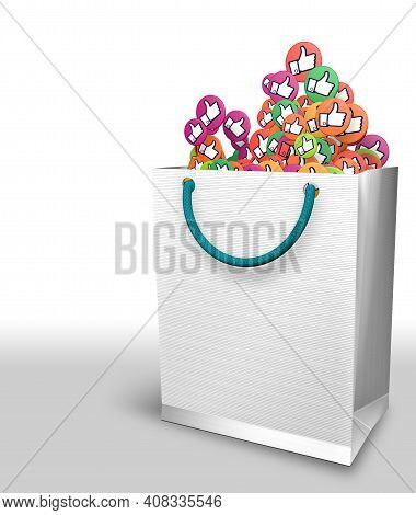 White Paper Bag Full Of Yellow, Green And Purple Circles With Thumb Up Hand Icon On White Background