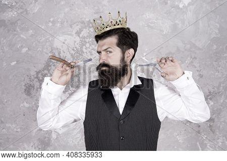 Noble Worker. Crown Award. Barber Shop Concept. Bearded Hipster Shaving. Vintage Barber. Barber Tool