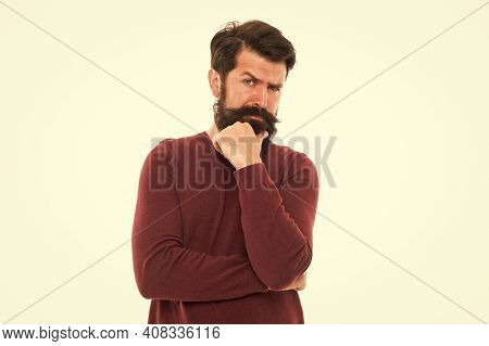 Man Stylish Hairstyle And Beard Making Decision. Businessman Concept. Good Decision Needs Time. Lost