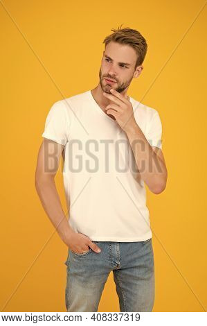 Stylish Handsome Young Man. Good Looking Guy Unshaven Face. Hipster With Bristle. Handsome Man. Char