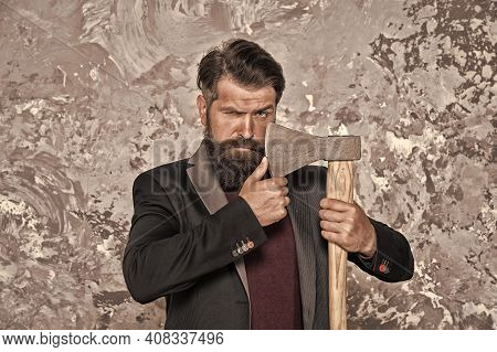 Brutal Bearded Man With Axe. Debt Collection Is Process Of Pursuing Payments Of Debts Owed By Indivi