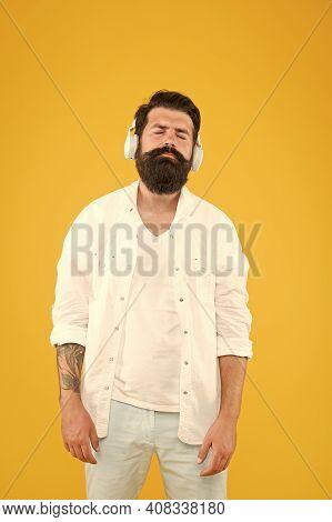 Audio Enjoyment. Perfect Sound. Hipster Listen Music Stereo Headphones. Modern Wireless Headphones.