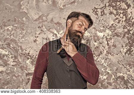 Shaving For Gentlemen. Bearded Man Shave With Razor. Retro Shaving Tool. Vintage Style Shaving. Prof