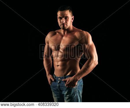 Nude Man Torso. Denim Fashion. Naked Muscular Guy In Jeans. Sexy Topless Muscular Fitnes Model. Male