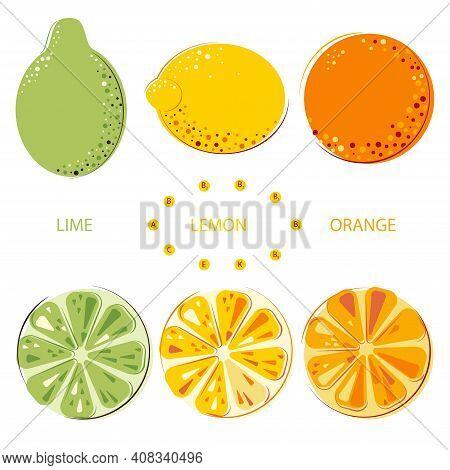 Green Juicy Lime, Lemon, Sunny Juicy Oranges Set Of Whole And Cut Fruits. Colorful Citrus Fruits