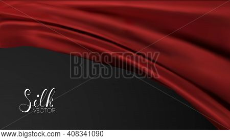 Red Textile Background. Luxury Background Template Vector Illustration. Award Nomination Design Elem