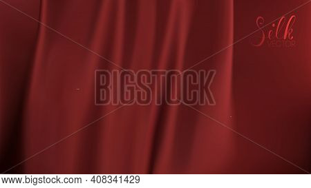 Ribbon Background. Red Silk On Black Background. Luxury Background Template Vector Illustration. Awa