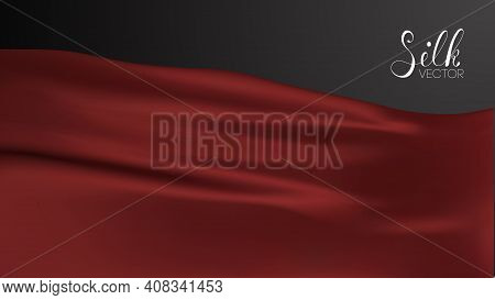 Luxury Vector Illustration. Red Silk On Black Background. Luxury Background Template Vector Illustra