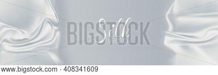 Soft White Background White Silk Texture. Light Wave Effect White Silk Background Vector. Realistic