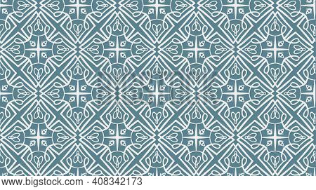 Abstract Arabic Lace Seamless Pattern In Blue And Pink Colors, East Style. Elegant Pale Blue Macrame
