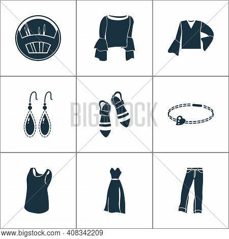 Fashion Design Icons Set With Sleeveless Shirt, Needle Set, Bracelet And Other Blouse Elements. Isol