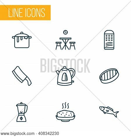Cook Icons Line Style Set With Grater, Sieve, Hot Rice And Other Cleaver Elements. Isolated Vector I