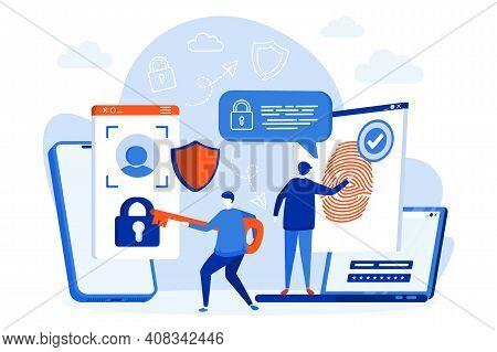 Biometric Access Control Web Design With People Characters. Biometrics Identification And Verificati