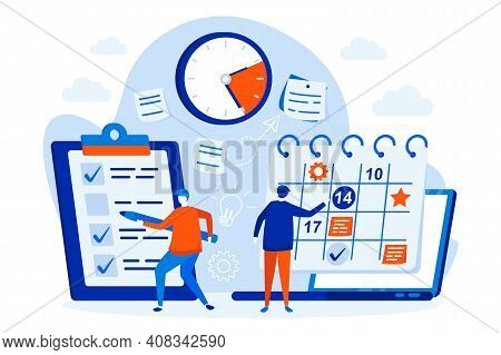 Business Planning Web Design Concept With People. Managers Planning Activities And Tasks Scene. Time