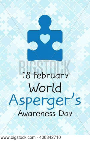 18 February World Aspergers Awareness Day Banner. Symbol Of Autism. Design Template For Background,