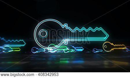 Key Encryption Symbol Abstract 3D Illustration