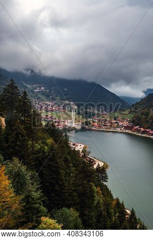 View Of The Mosque On The Shore Of The Mountain Lake Uzungol, Trabzon, Turkey.