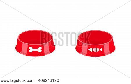Empty Dog And Cat Food Bowls With Bone And Fish Bone Icons. Pet Plastic Plates Isolated On White Bac