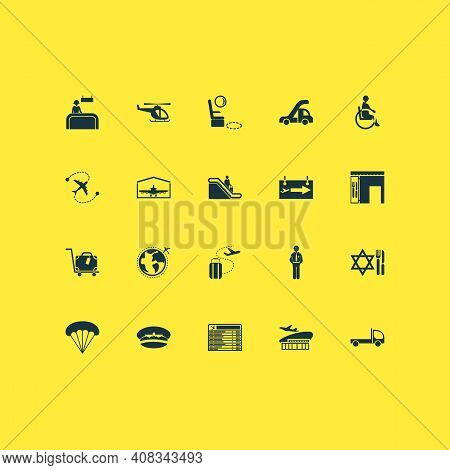 Airport Icons Set With Airport Building, Flatbed Truck, Seat Feet Space And Other Police Elements. I