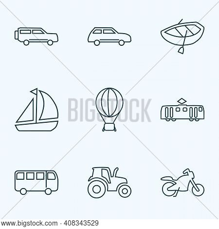 Transit Icons Line Style Set With City Car, Bus, Motorcycle And Other Sedan Elements. Isolated Illus