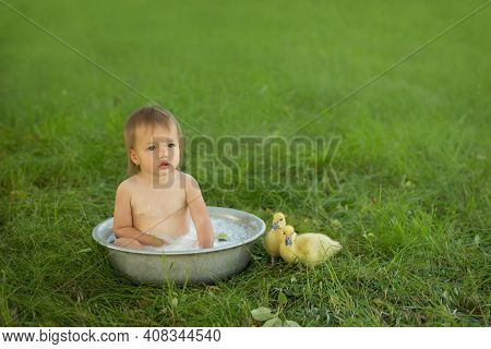 The Baby Bathes With The Ducklings In A Pelvis In Nature In The Garden. The Baby And The Ducklings L