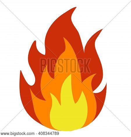 Isolated Cartoon Bonfire On White Bonfire. Vector Illustration