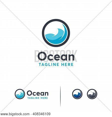 Ocean Logo Designs Template, Ocean Wave Logo Symbol, Travel Logo Template