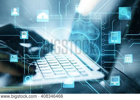 Cloud Computer Storage Concept With Digital Screen With Cloud Service Application Items And Fingers