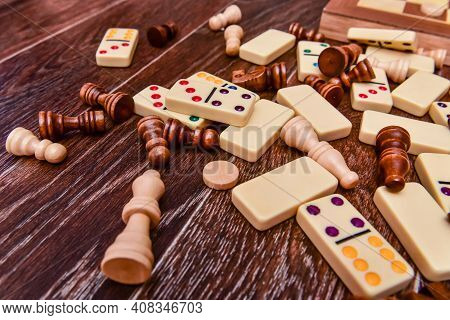 A Variety Of Board Game Pieces. A Background Miscellaneous Board Game Pieces