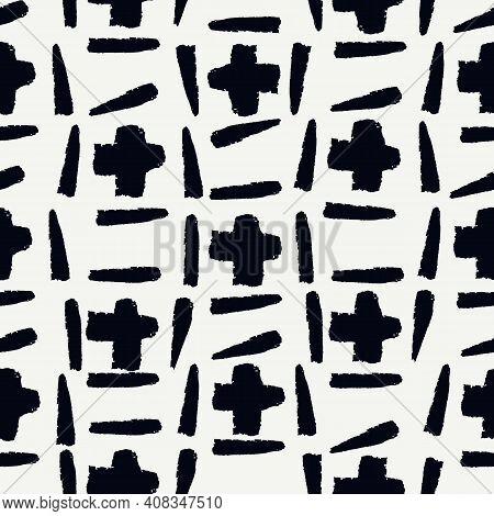 Paint Brush Strokes Seamless Pattern. Freehand Grunge Design Background. Crosses Motif Modern Minima