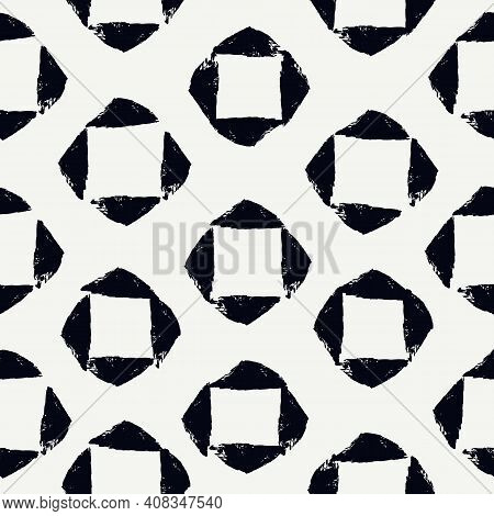 Paint Brush Strokes Seamless Pattern. Freehand Grunge Design Background. Squares, Diamonds Mosaic Mo