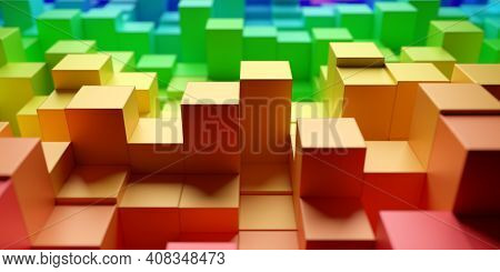 Background From Randomly Shifted Rainbow Or Spectrum Colored Cubes, Creativity Or Toy Concept, Selec