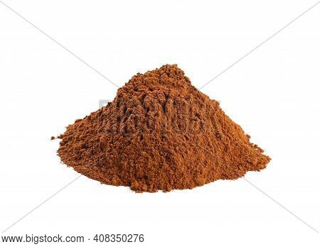 Cinnamon Powder On White Background. Aromatic Spice