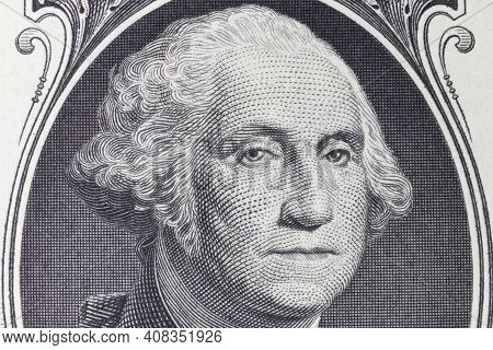 President George Washington On The Obverse Of A One Dollar Bill For Background.
