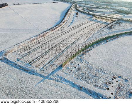 Unfinished Motorway D0 (r1) By D1 Highway In Winter - Motorway Ending In Field