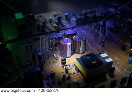Stylized Photo Of An Electronic Microcircuit. Microcircuit, Contacts, Electronics, Motherboard. Blac