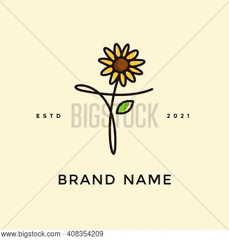 Beauty And Charming Simple Illustration Logo Design Initial T Combine With Sun Flower.