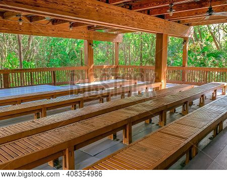 Wooden Building In A Lush Jungle Forest