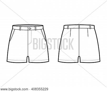 Short Pants Technical Fashion Illustration With Mid-thigh Length, Low Waist, Rise, Slashed Pocket. F