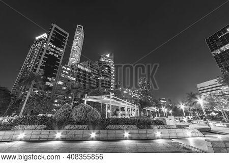Midtown Of Hong Kong Ciity At Night