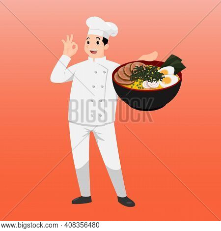 Happy Chef Cartoon Portrait Of Young Big Guy Cook Wearing Hat And Chef Uniform Hold Bowl Of Ramen An