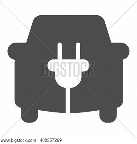 Car And Cord With Plug Solid Icon, Electric Car Concept, Ecological Transport Sign On White Backgrou