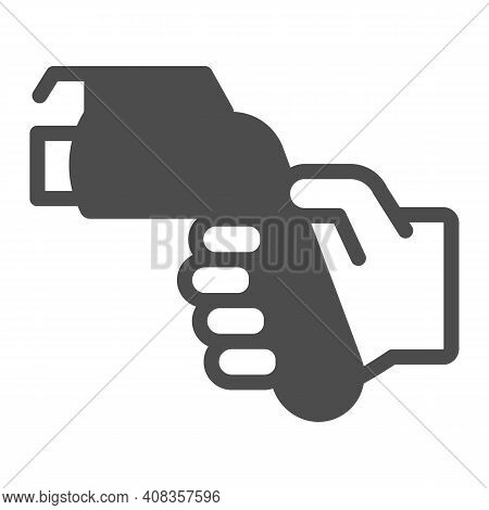 Refueling Gun In Hand Solid Icon, Electric Car Concept, Gasoline Nozzle Sign On White Background, Hu