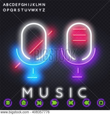 Neon Microphone Turned Off. Disable Mic. Neon Style Icon. Bright Glowing Studio Microphone And Text