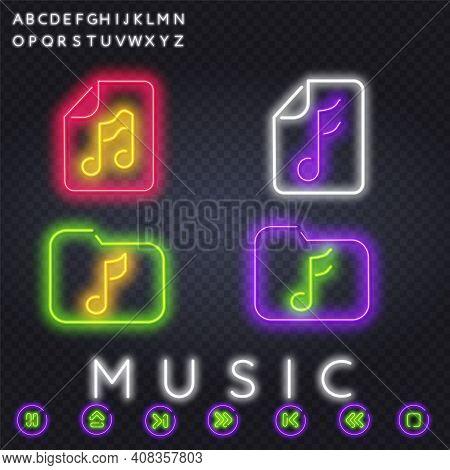 Music Notes Sign. Green Neon Icon In The Dark. Blurred Lightening. Illustration. Neon Light Signboar