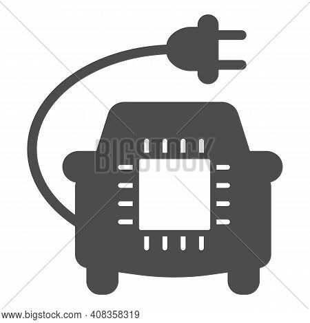 Car With Plug And Processor Chip Solid Icon, Electric Car Concept, Car Circuit Board Sign On White B