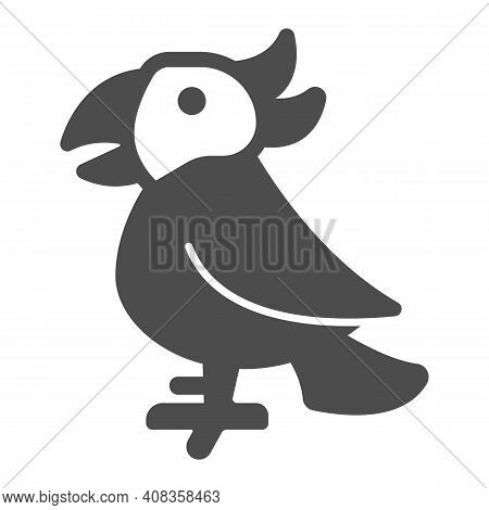 Parrot Solid Icon, Domestic Animals Concept, Macaw Bird Sign On White Background, Tropical Parrot Ic